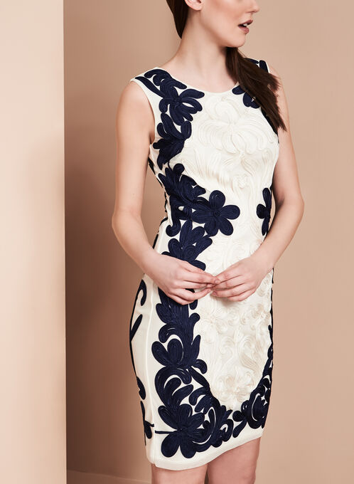 Lyman by Frank Lyman Soutache Print Dress, Blue, hi-res