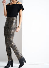 Floral Print Pull-On Scuba Pants , Brown, hi-res