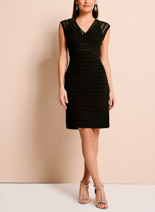 Adrianna Papell Jersey Mesh Shutter Dress, Black, hi-res