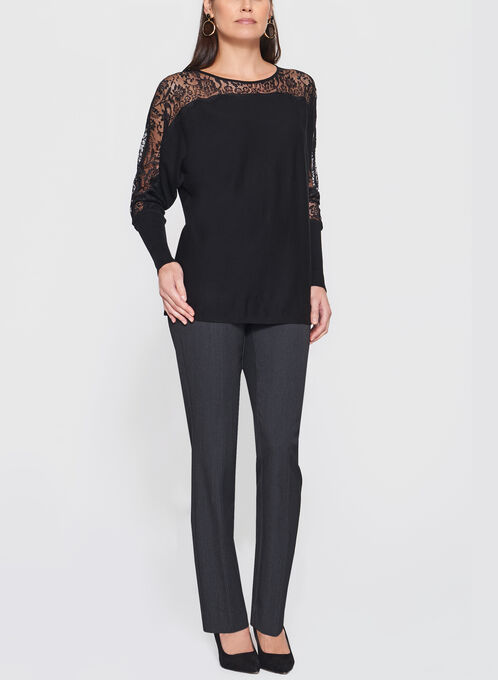 Lace Detail Dolman Sleeve Sweater, Black, hi-res