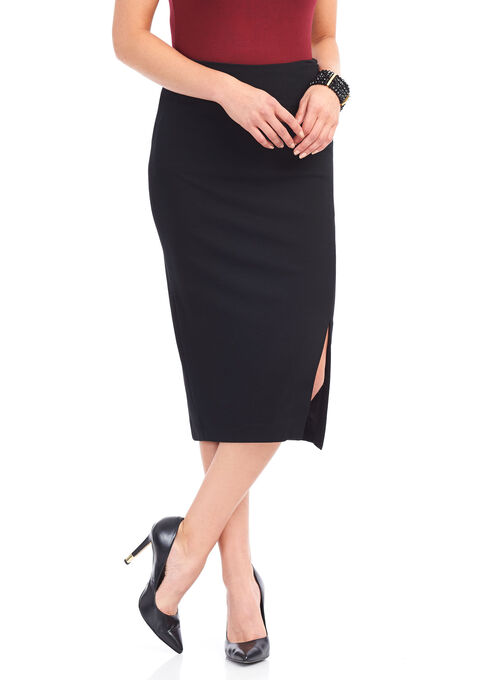 Slightly High-Waisted Asymmetrical Skirt, Black, hi-res