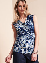 Drape Neck Sleeveless Top, , hi-res