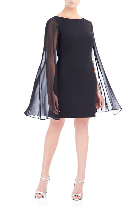 Adrianna Papell Chiffon Overlay Dress, Black, hi-res