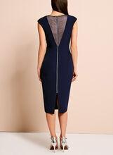 Jax Satin Mesh Sleeveless Dress, Blue, hi-res