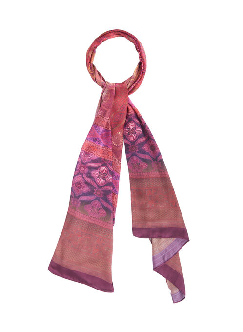 Abstract Print Ombré Scarf, Red, hi-res