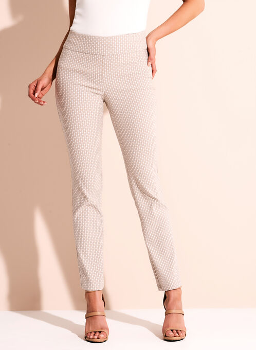 Diamond Jacquard 7/8 Pants, White, hi-res