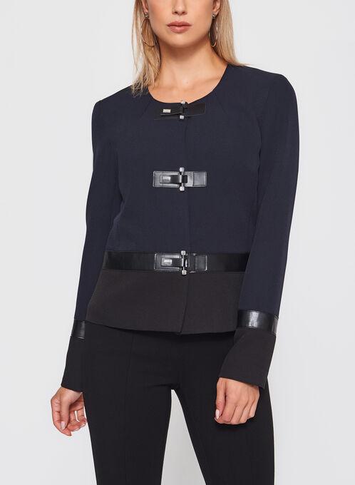 Vex - Faux Leather Trim Blazer, Black, hi-res