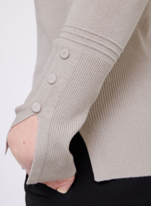Boat Neck Chevron Knit Sweater, Off White, hi-res