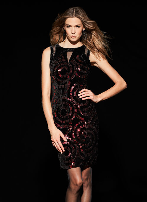 Jax Sequined Velvet Dress, Red, hi-res