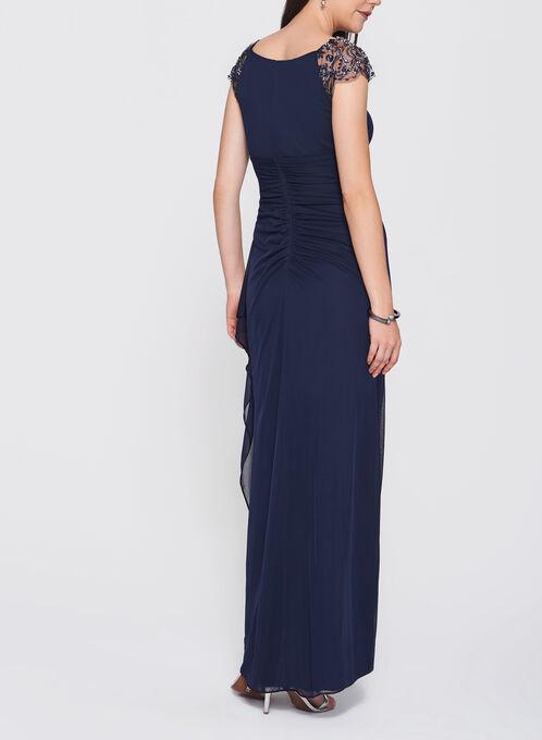 Embellished Mesh Trim Gown, Blue, hi-res