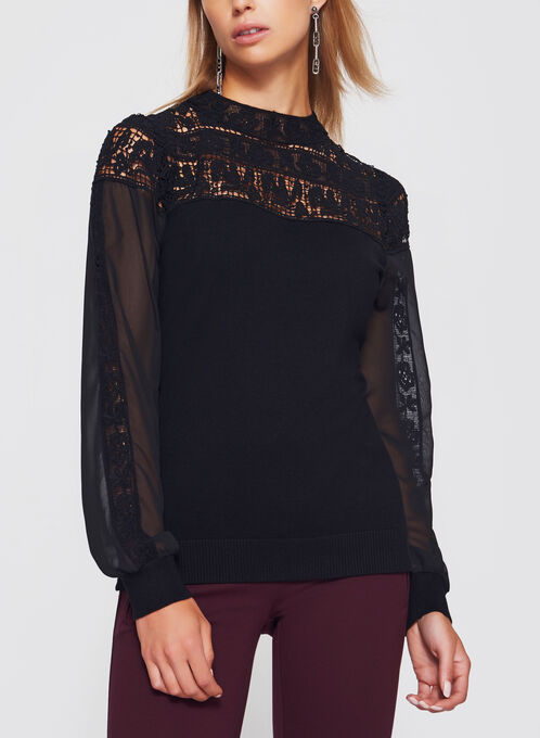 Lace Chiffon Detail Knit Blouse , Black, hi-res