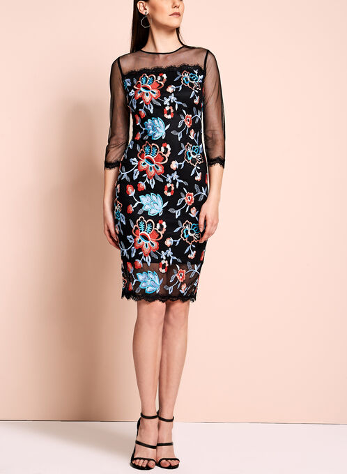 Jax Floral Embroidered Mesh Dress, Multi, hi-res