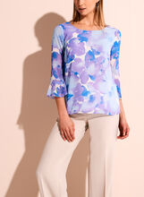 3/4 Sleeve Watercolour Floral Print Blouse, , hi-res
