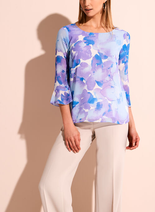 3/4 Sleeve Watercolour Floral Print Blouse, Purple, hi-res