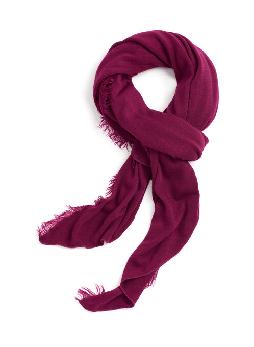 Solid Fringed Wrap Scarf, Red, hi-res