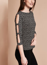 Cutout Ditsey Print Top , Black, hi-res