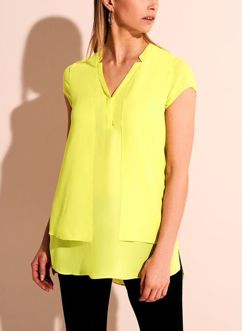 Conrad C Split Neck Double Layer Tunic, Green, hi-res