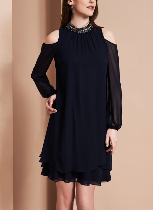 Beaded Neck Chiffon Dress, Blue, hi-res