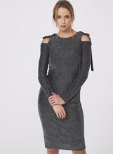 Maggy London - Metallic Cold Shoulder Dress, Silver, hi-res
