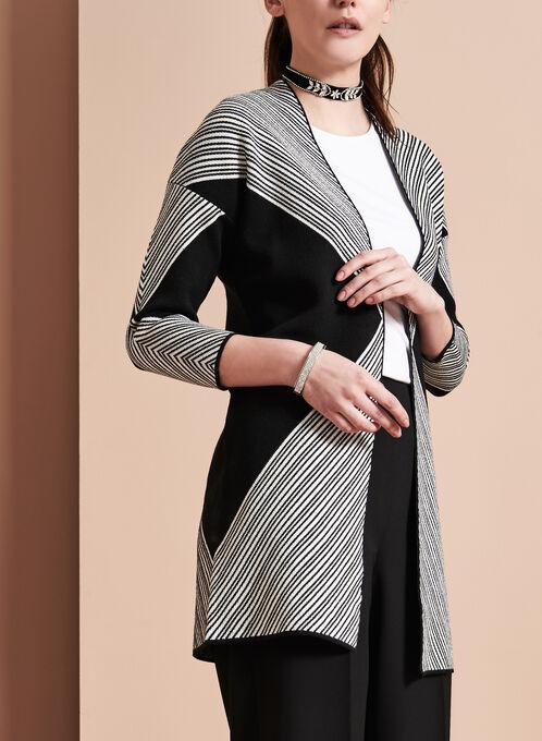 Cardigan en tricot avec imprimé graphique , Noir, hi-res