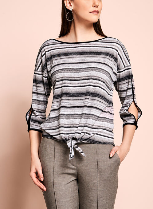 3/4 Sleeve Stripe Print Top, White, hi-res