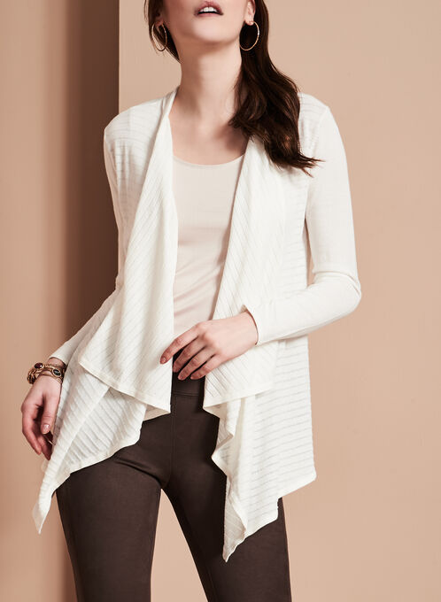 Open Front Cascade Cardigan, Off White, hi-res