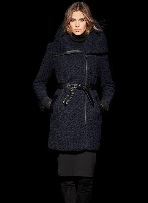 Cole Haan Signature Bouclé Wool Coat, Blue, hi-res
