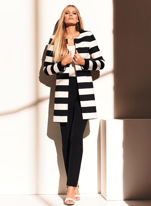 Ponte Stripe Print Jacket, Black, hi-res