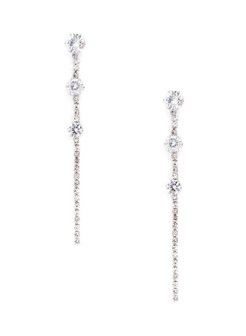 Boucles d'oreilles avec pendants de cristaux, Argent, hi-res
