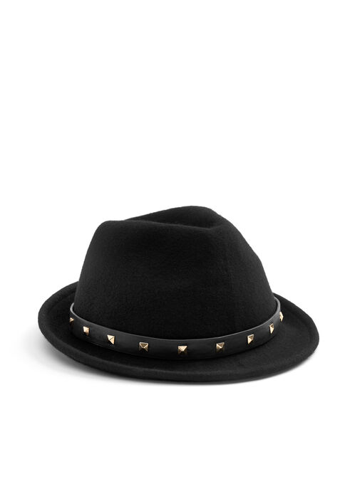 Wool & Faux Leather Fedora, Black, hi-res