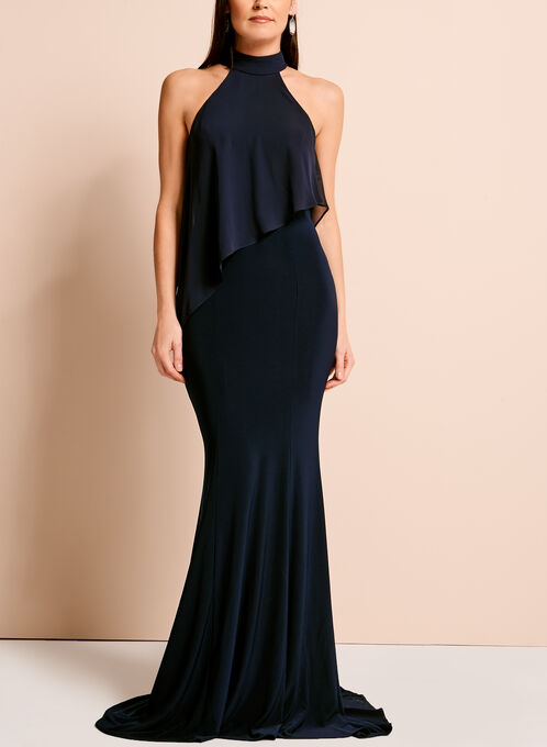 Chiffon Jersey Cleo Neck Gown, Blue, hi-res