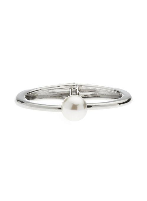 Bracelet en métal avec perle, Blanc cassé, hi-res