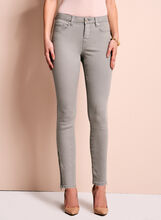 Zipper Trim Slim Leg Jeans, , hi-res
