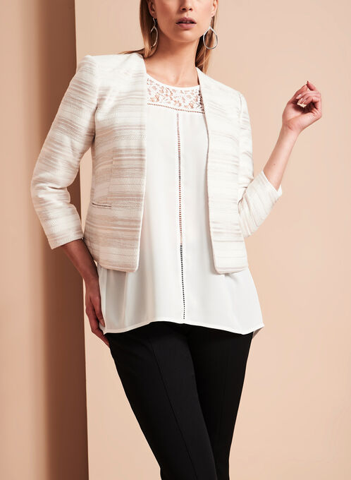 Cropped Knit Jacquard Jacket, White, hi-res