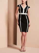 Jax Contrast Crepe V-Neck Dress, , hi-res