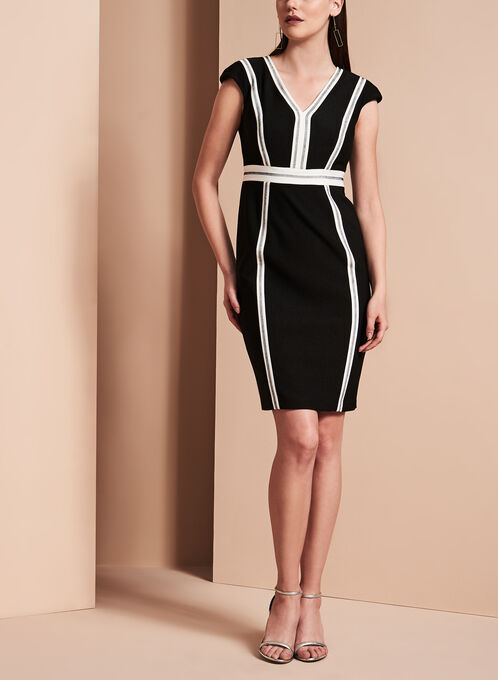 Contrast Crepe V-Neck Dress, Black, hi-res