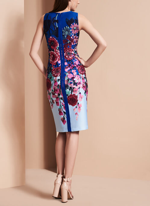 Adrianna Papell Floral Print Scuba Dress, Multi, hi-res