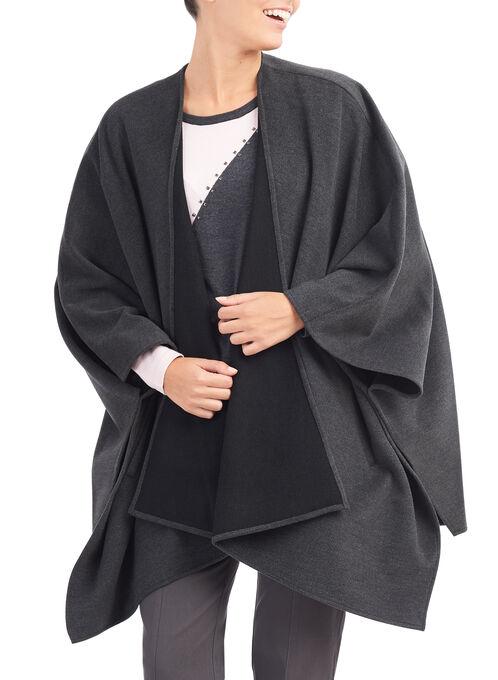 Novelti Wool-Like Cape Coat , Grey, hi-res