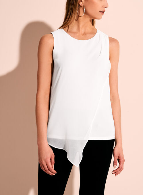 Sleeveless Asymmetric Blouse, Off White, hi-res
