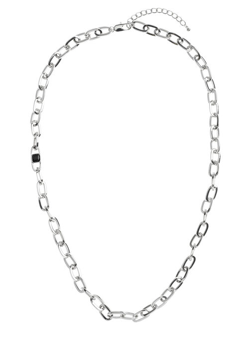 Oval Chain Link Necklace, Black, hi-res