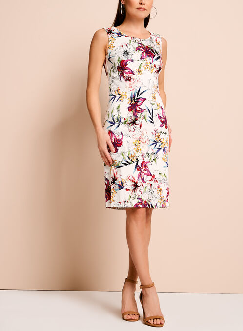 Floral Print Jacquard Sheath Dress, Multi, hi-res
