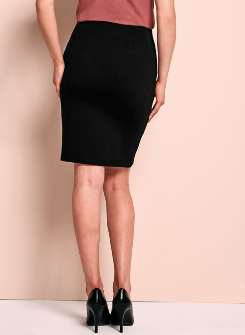 Double Layer Ponte Pencil Skirt, Black, hi-res