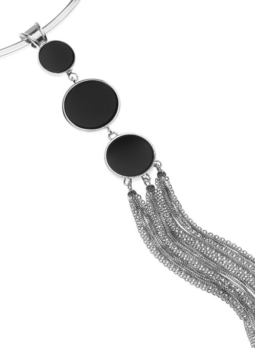 Circle & Chain Pendant Collar Necklace, Black, hi-res