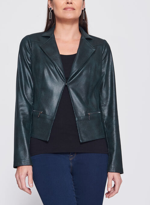 Vex - Zipper Trim Faux Leather Jacket, Green, hi-res