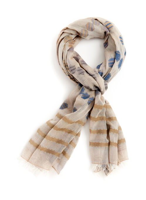 Echo Geometric Print Oversized Scarf, Off White, hi-res