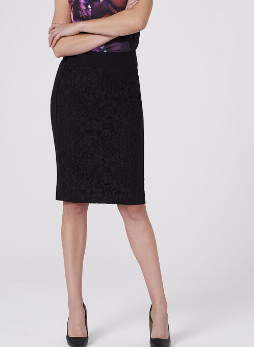 Lace Detail Pencil Skirt , Black, hi-res