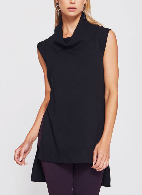 Sleeveless Cowl Neck Knit Tunic, Black, hi-res
