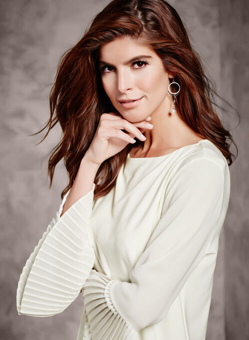 3/4 Sheer Bell Sleeve Blouse, Off White, hi-res