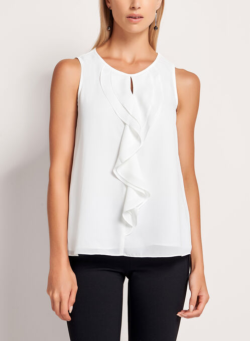 Keyhole Neck Ruffle Front Blouse, Off White, hi-res