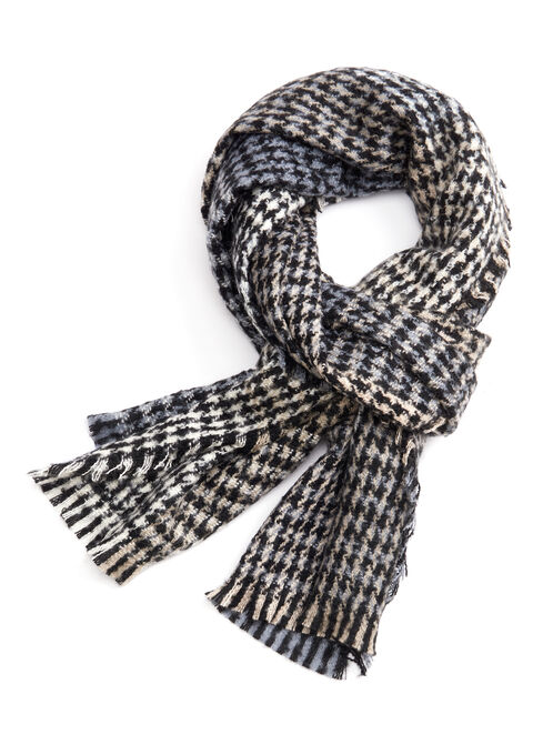 Houndstooth Bouclé Scarf, Brown, hi-res